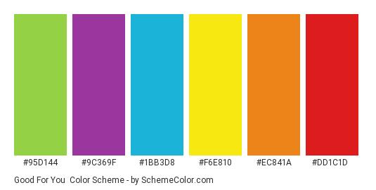 Good For You - Color scheme palette thumbnail - #95d144 #9c369f #1bb3d8 #f6e810 #ec841a #dd1c1d