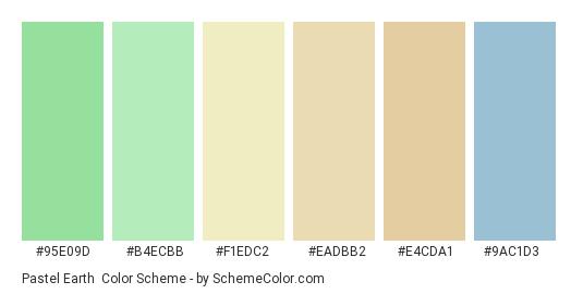 Pastel Earth - Color scheme palette thumbnail - #95e09d #b4ecbb #f1edc2 #eadbb2 #e4cda1 #9ac1d3