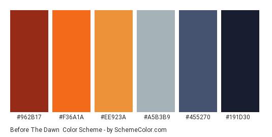 Before the Dawn - Color scheme palette thumbnail - #962b17 #f36a1a #ee923a #a5b3b9 #455270 #191d30