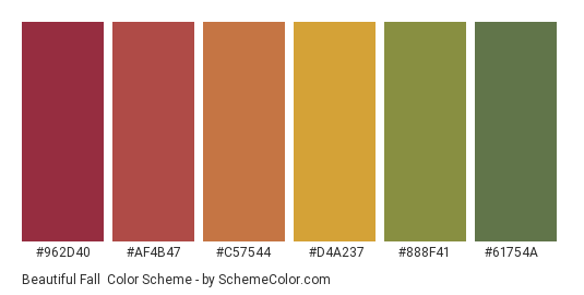 Beautiful Fall - Color scheme palette thumbnail - #962d40 #af4b47 #c57544 #d4a237 #888f41 #61754a