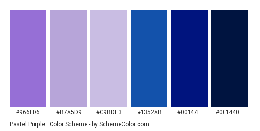 Pastel Purple & Dark Blue - Color scheme palette thumbnail - #966FD6 #B7A5D9 #C9BDE3 #1352AB #00147E #001440