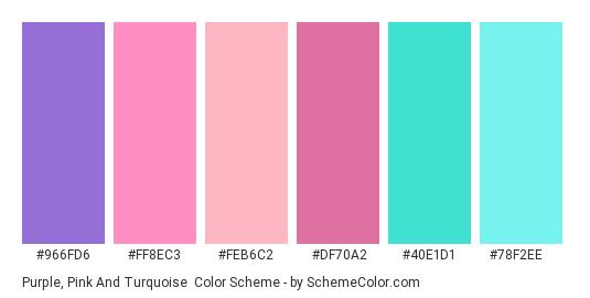 Purple, Pink and Turquoise - Color scheme palette thumbnail - #966fd6 #ff8ec3 #feb6c2 #df70a2 #40e1d1 #78f2ee