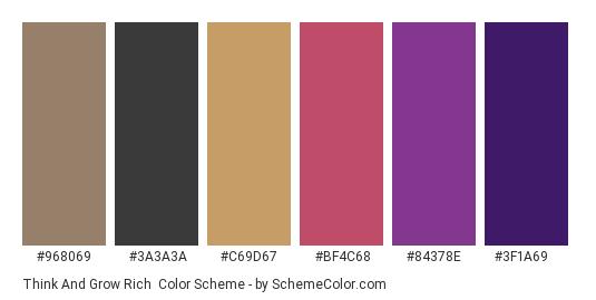 Think and Grow Rich - Color scheme palette thumbnail - #968069 #3a3a3a #c69d67 #bf4c68 #84378e #3f1a69