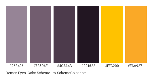 Demon Eyes - Color scheme palette thumbnail - #968496 #725d6f #4c3a4b #221622 #ffc200 #faa927