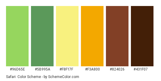 Safari - Color scheme palette thumbnail - #96D65E #5B995A #F8F17F #F3A800 #824026 #431F07