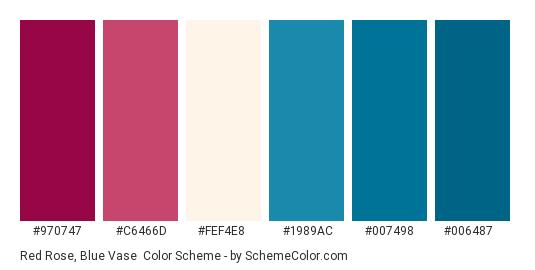 Red Rose, Blue Vase - Color scheme palette thumbnail - #970747 #C6466D #FEF4E8 #1989AC #007498 #006487