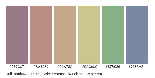 Dull Rainbow Gradient - Color scheme palette thumbnail - #977c87 #ba8d82 #c6a78a #cac68c #87b086 #7989a2