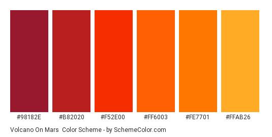 Volcano on Mars - Color scheme palette thumbnail - #98182e #b82020 #f52e00 #ff6003 #fe7701 #ffab26