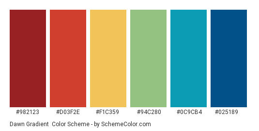 Dawn Gradient - Color scheme palette thumbnail - #982123 #D03F2E #F1C359 #94C280 #0C9CB4 #025189