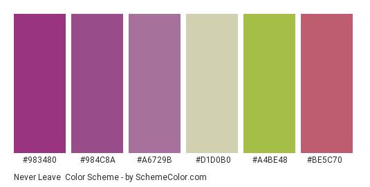 Never Leave - Color scheme palette thumbnail - #983480 #984c8a #a6729b #d1d0b0 #a4be48 #be5c70