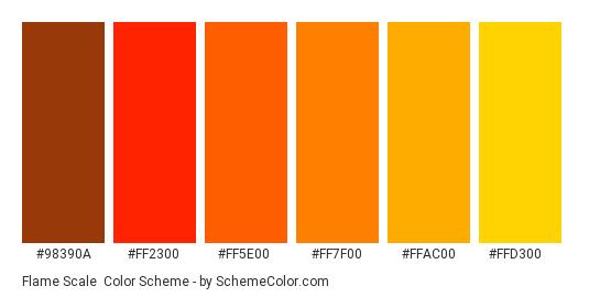Flame Scale - Color scheme palette thumbnail - #98390a #ff2300 #ff5e00 #ff7f00 #ffac00 #ffd300