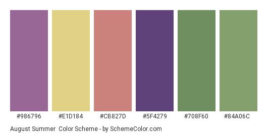 August Summer - Color scheme palette thumbnail - #986796 #e1d184 #cb827d #5f4279 #708f60 #84a06c