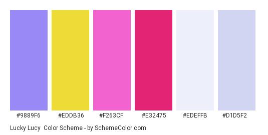 Lucky Lucy - Color scheme palette thumbnail - #9889f6 #eddb36 #f263cf #e32475 #EDEFFB #D1D5F2