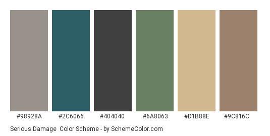 Serious Damage - Color scheme palette thumbnail - #98928a #2c6066 #404040 #6a8063 #d1b88e #9c816c