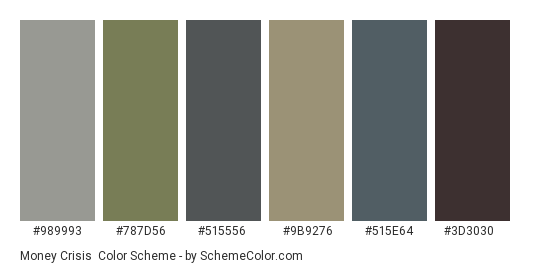 Money Crisis - Color scheme palette thumbnail - #989993 #787d56 #515556 #9b9276 #515e64 #3d3030