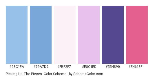 Picking up the Pieces - Color scheme palette thumbnail - #98C1EA #79A7D9 #FBF2F7 #E8C1ED #554890 #E4618F