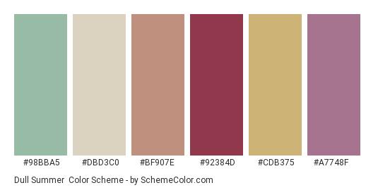 Dull Summer - Color scheme palette thumbnail - #98bba5 #dbd3c0 #bf907e #92384d #cdb375 #a7748f