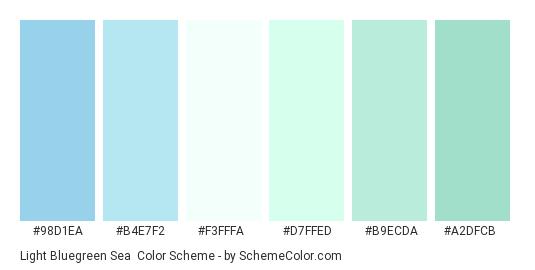 Light Bluegreen Sea - Color scheme palette thumbnail - #98d1ea #b4e7f2 #f3fffa #d7ffed #b9ecda #a2dfcb