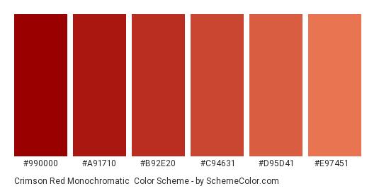 Crimson Red Monochromatic - Color scheme palette thumbnail - #990000 #a91710 #b92e20 #c94631 #d95d41 #e97451