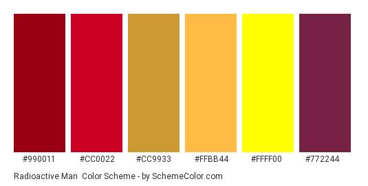 Radioactive Man - Color scheme palette thumbnail - #990011 #CC0022 #CC9933 #FFBB44 #FFFF00 #772244