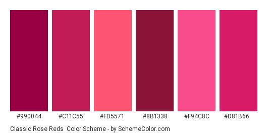 Classic Rose Reds - Color scheme palette thumbnail - #990044 #c11c55 #fd5571 #8b1338 #f94c8c #d81b66
