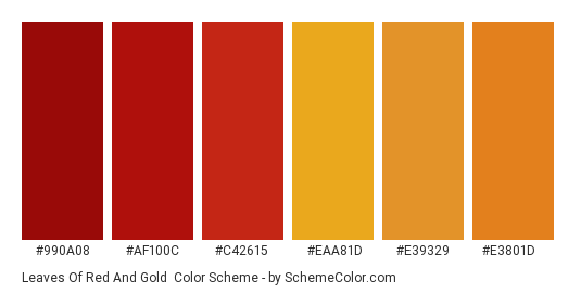 Leaves of Red and Gold - Color scheme palette thumbnail - #990a08 #af100c #c42615 #eaa81d #e39329 #e3801d