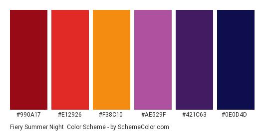 Fiery Summer Night - Color scheme palette thumbnail - #990a17 #e12926 #f38c10 #ae529f #421c63 #0e0d4d