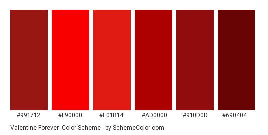 Valentine Forever - Color scheme palette thumbnail - #991712 #F90000 #E01B14 #AD0000 #910D0D #690404