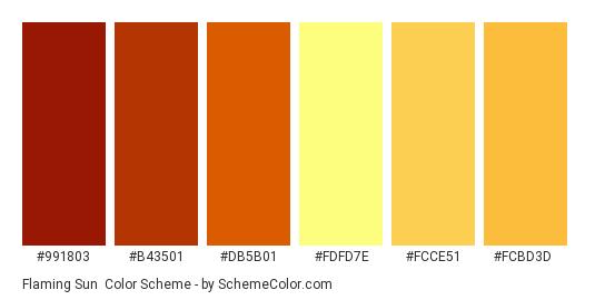 Flaming Sun - Color scheme palette thumbnail - #991803 #b43501 #db5b01 #fdfd7e #fcce51 #fcbd3d
