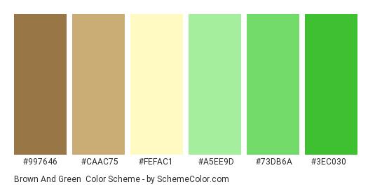 Brown and Green - Color scheme palette thumbnail - #997646 #caac75 #fefac1 #a5ee9d #73db6a #3ec030