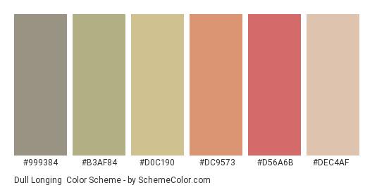 Dull Longing - Color scheme palette thumbnail - #999384 #b3af84 #d0c190 #dc9573 #d56a6b #dec4af