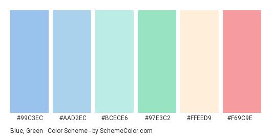 Blue, Green & Red Pastels - Color scheme palette thumbnail - #99C3EC #AAD2EC #BCECE6 #97E3C2 #FFEED9 #f69c9e