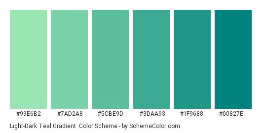 Light-Dark Teal Gradient - Color scheme palette thumbnail - #99E6B2 #7AD2A8 #5CBE9D #3DAA93 #1F9688 #00827E