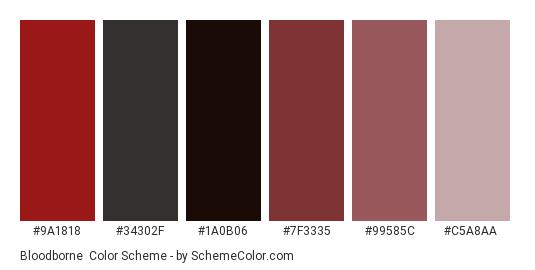 Bloodborne - Color scheme palette thumbnail - #9A1818 #34302F #1A0B06 #7F3335 #99585C #C5A8AA