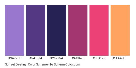 Sunset Destiny - Color scheme palette thumbnail - #9A77CF #543884 #262254 #A13670 #EC4176 #FFA45E