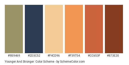 Younger and Stronger - Color scheme palette thumbnail - #9B9469 #2D3C52 #F4CD96 #F39754 #CC653F #873E20