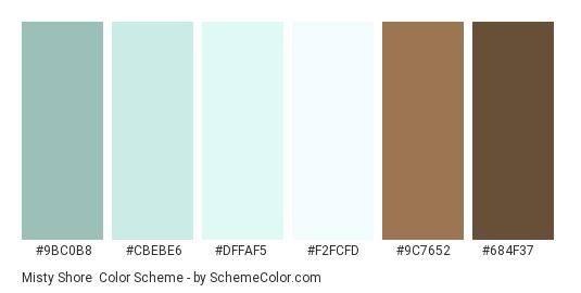 Misty Shore - Color scheme palette thumbnail - #9BC0B8 #CBEBE6 #DFFAF5 #F2FCFD #9C7652 #684F37