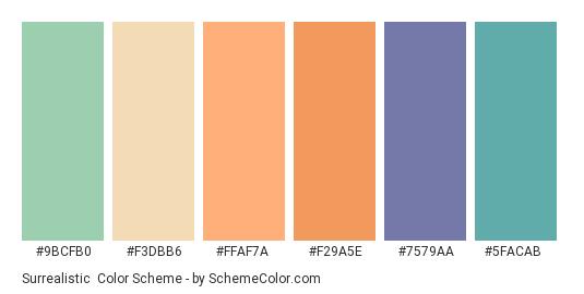 Surrealistic - Color scheme palette thumbnail - #9BCFB0 #F3DBB6 #FFAF7A #f29a5e #7579aa #5facab
