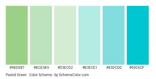 Pastel Green & Turquoise - Color scheme palette thumbnail - #9BD087 #BCE3B9 #D3ECD2 #B3ECE1 #83DCDD #00c6cf
