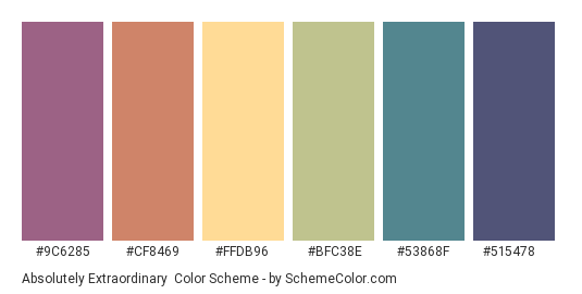Absolutely Extraordinary - Color scheme palette thumbnail - #9C6285 #CF8469 #FFDB96 #BFC38E #53868F #515478