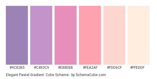 Elegant Pastel Gradient - Color scheme palette thumbnail - #9C82B5 #C493C9 #E88EBB #FEA2AF #FDD6CF #FFEDDF