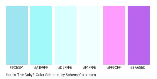 Here's the Baby? - Color scheme palette thumbnail - #9CE5F1 #A1F9F9 #D9FFFE #F1FFFE #FF9CFF #BA65ED
