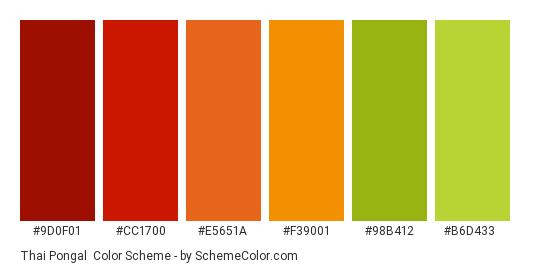 Thai Pongal - Color scheme palette thumbnail - #9D0F01 #CC1700 #E5651A #F39001 #98B412 #B6D433