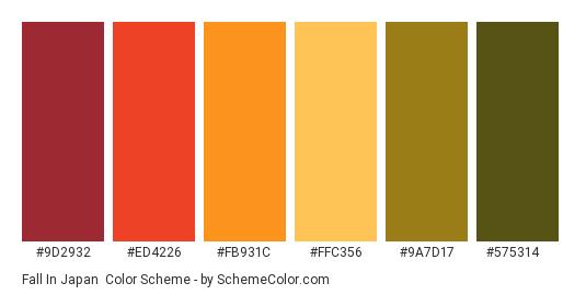 Fall in Japan - Color scheme palette thumbnail - #9D2932 #ED4226 #FB931C #FFC356 #9A7D17 #575314