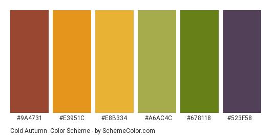 Cold Autumn - Color scheme palette thumbnail - #9a4731 #e3951c #e8b334 #a6ac4c #678118 #523f58