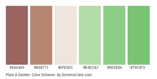 Plant a Garden - Color scheme palette thumbnail - #9a6460 #b58771 #efe5dc #b4dca7 #8dce86 #79c473