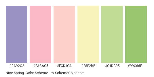 Nice Spring - Color scheme palette thumbnail - #9a92c2 #fabac5 #fcd1ca #f8f2bb #c1dc95 #99c66f