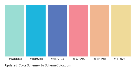 Updated - Color scheme palette thumbnail - #9addd3 #1db5dd #5877bc #f48995 #f1b690 #efda99