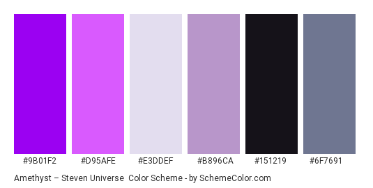 Amethyst – Steven Universe - Color scheme palette thumbnail - #9b01f2 #d95afe #e3ddef #b896ca #151219 #6f7691
