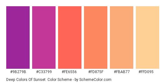 Deep Colors of Sunset - Color scheme palette thumbnail - #9b279b #c33799 #fe6556 #fd875f #fbab77 #ffd095